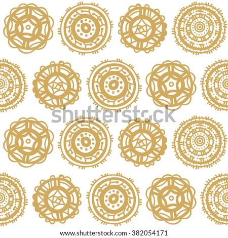 Abstract doodle hand drawn circle shapes wallpaper. Vector seamless pattern. - stock vector