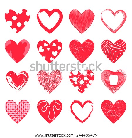 abstract Doodle hearts set - stock vector