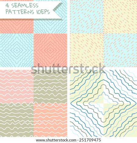 Abstract doodle seamless patterns. Cute set of 4 patterns. 10EPS