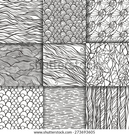 Abstract doodle seamless patterns set. 9 monochrome black and white hand drawn backgrounds. Template for your design. Vector illustration - stock vector