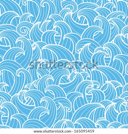 Abstract doodle waves seamless pattern - stock vector