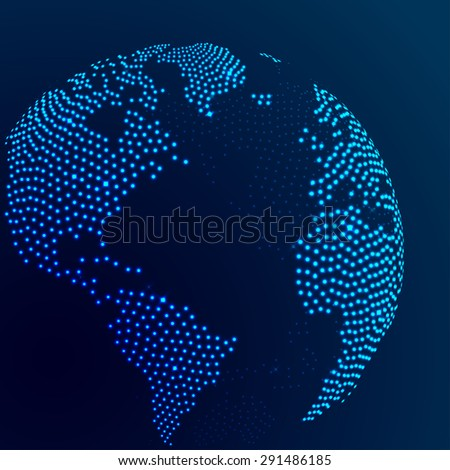 Abstract dotted globe earth with blue shining glitter. Vector illustration - stock vector