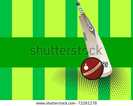 abstract dotted green background with isolated bat and ball - stock vector