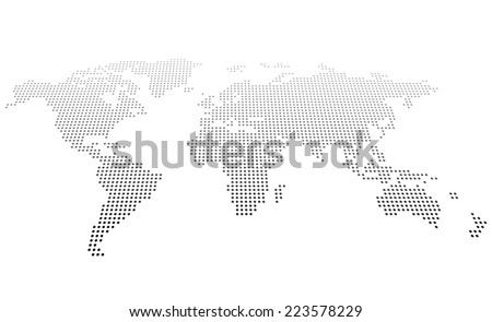 Abstract dotted map - stock vector