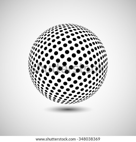 Abstract dotted vector background. Halftone effect. 3d sphere - stock vector