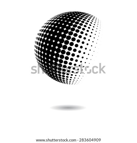 Abstract dotted vector sphere - stock vector