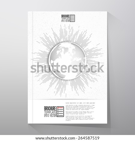 Abstract dotted world globe with vintage style star burst, retro vector design. Brochure, flyer or report for business, template vector. - stock vector