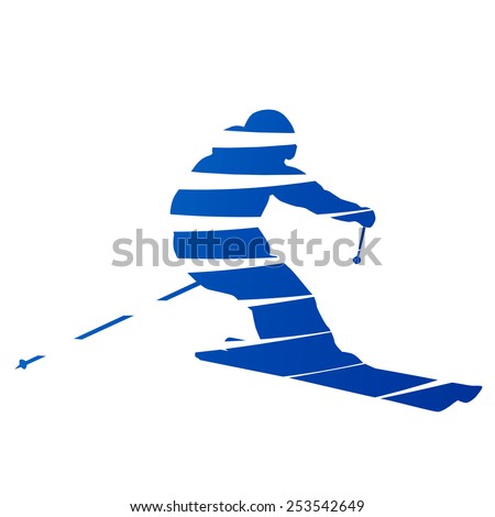 Abstract downhill skier - stock vector