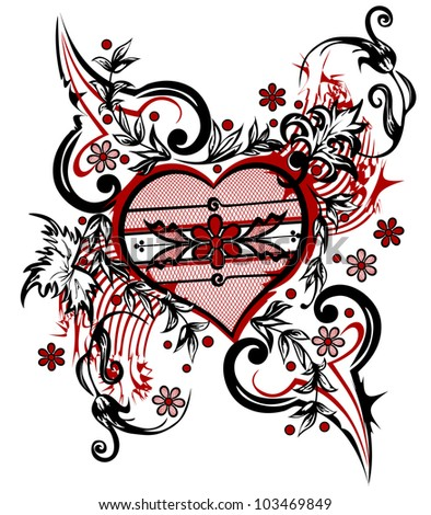 Abstract drawing heart. Valentine background. The valentine's day. T-shirt design - stock vector