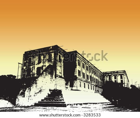 Abstract drawing of Alcatraz - stock vector