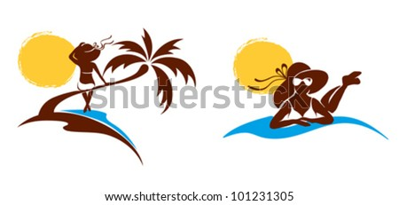 Abstract drawing - woman on the beach - stock vector