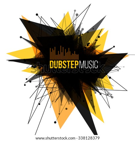 Abstract Dubstep Explosion Banner. Lines and Dots Connection Concept. Triangle banner. Vector illustration. - stock vector