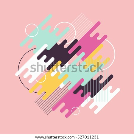 Abstract dynamic geometric background. Colorful geometric motion shapes. Vector template.