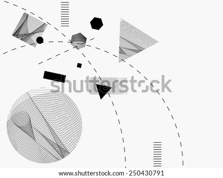 Abstract, dynamic, geometric figures, dashed curves and  line waves banner, background with textures in the figures. Art, technology , maths, physics, science, research and business theme related. - stock vector