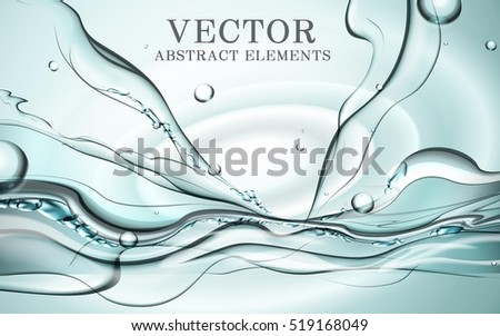 Abstract dynamic water, fresh splash water effects for design in aqua blue, 3D illustration