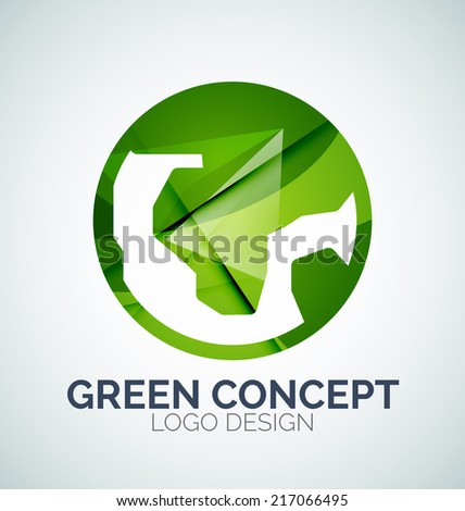 Abstract Earth logo design made of color pieces - various geometric shapes - stock vector