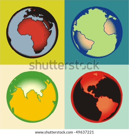 abstract earth with the effect of engraving - stock vector