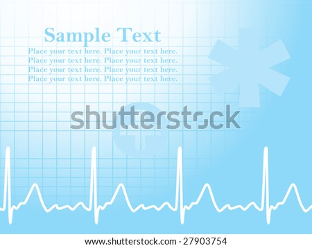 abstract ecg background with heart beat and medical sign
