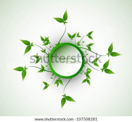 abstract eco green lives circle frame vector design - stock vector