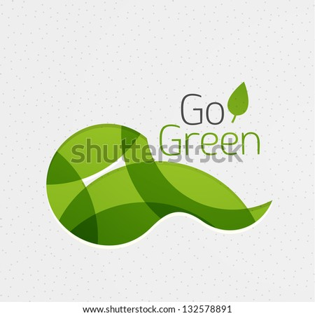 Abstract eco green shape | nature concept - stock vector