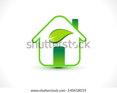 abstract eco home icon vector illustration - stock vector