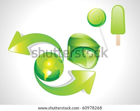 abstract eco , ice, candy& earth with arrow - stock vector