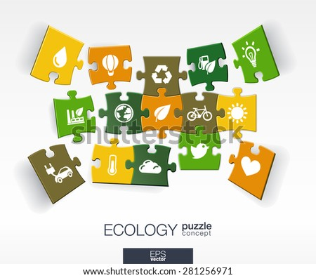 Abstract ecology background with connected color puzzles, integrated flat icons. 3d infographic concept with eco, earth, green, recycling, nature, sun, car pieces in perspective. Vector illustration. - stock vector