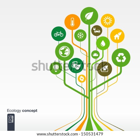 Abstract ecology background with lines, circles and icons. Growth tree concept with eco, earth, green, recycling, nature, bicycle, sun, car and home icon. Vector illustration. - stock vector