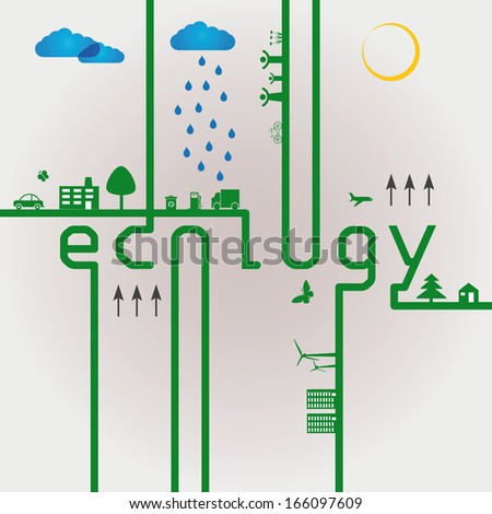 Abstract ecology green concept with word eco - stock vector