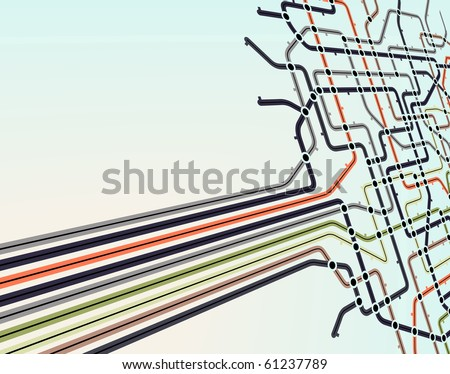 Abstract editable vector background of a subway map - stock vector