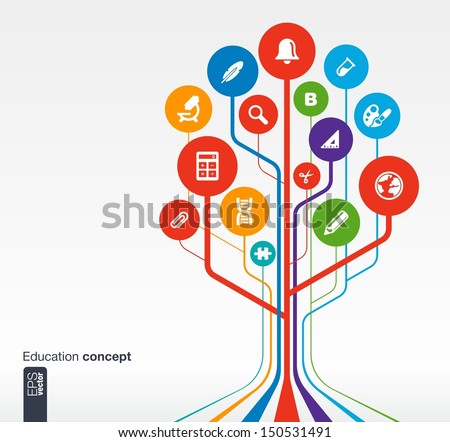Abstract education background with lines, circles and icons. Growth tree concept with bell, school, science, calc, geography, biology, pencil and microscope icon. Vector illustration. - stock vector