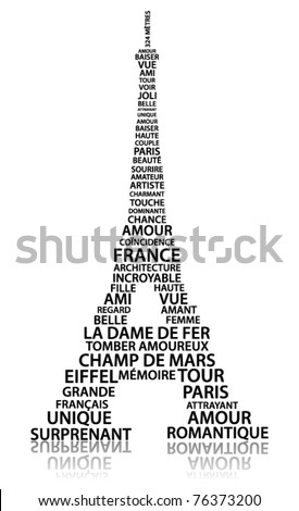 Abstract Eiffel tower made from relate words in French language - stock vector