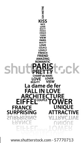 Abstract Eiffel tower made from words which relate with France and Paris - stock vector