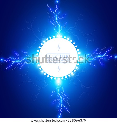 Abstract electric circle banner with lightning. Vector illustration