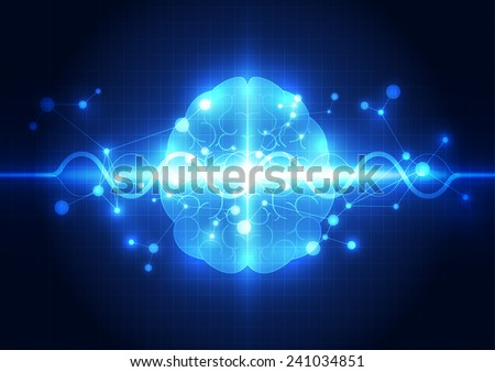 Abstract electric circuit digital brain,technology concept - stock vector