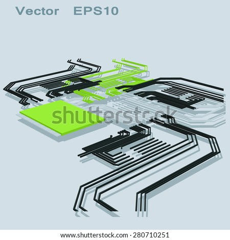 Abstract electrical schematic - stock vector