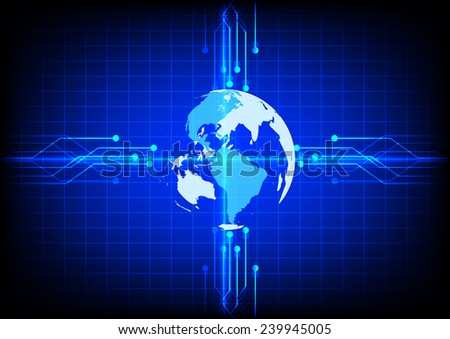 Abstract electronics world  line technology  blue background - stock vector