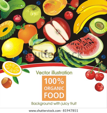 Abstract Elegance food background, vector illustration with juicy fruit.