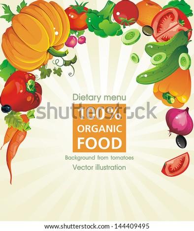 Abstract Elegance food background, Vegetable vector illustration, not crop version - stock vector