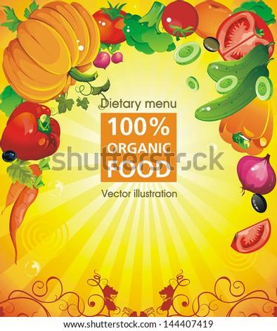 Abstract Elegance food design. Vegetable vector illustration, not crop version - stock vector