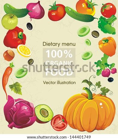 Abstract Elegance food design, Vegetable vector illustration on retro background - stock vector