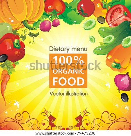 Abstract Elegance food design, Vegetable vector illustration on yellow background. - stock vector