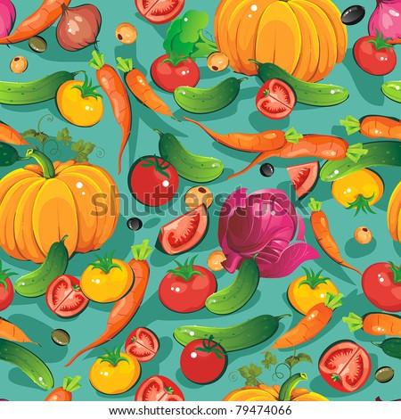 stock vector abstract elegance food pattern vegetable vector illustration 79474066 - Каталог — Фотообои «Еда, фрукты, для кухни»