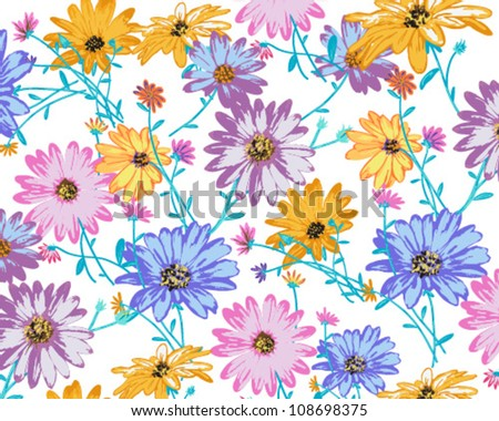 Abstract Elegance Seamless  African daisies  on white background - stock vector