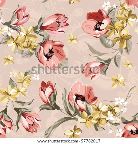 Abstract Elegance seamless floral pattern. Beautiful flower vector illustration texture - stock vector
