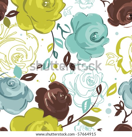 Abstract Elegance seamless floral pattern. Beautiful flower vector illustration texture with rose - stock vector