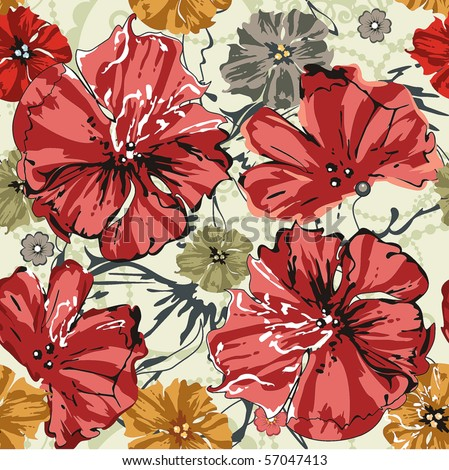 Abstract Elegance seamless floral pattern. Beautiful flowers vector illustration texture with poppy. - stock vector
