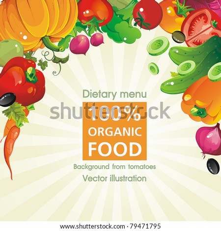 Abstract Elegance seamless food background, Vegetable vector illustration - stock vector