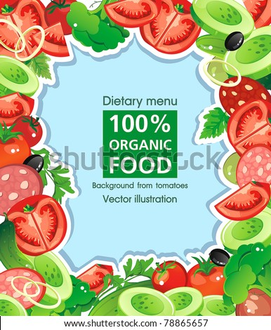Abstract Elegance seamless food background, Vegetable vector illustration with tomato and cucumbers - stock vector