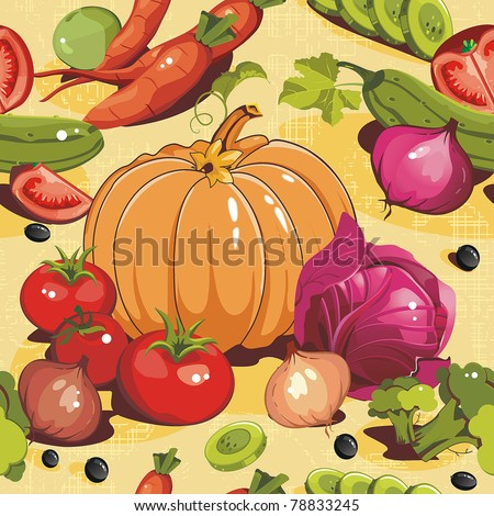 Abstract Elegance seamless food pattern, Vegetable vector illustration